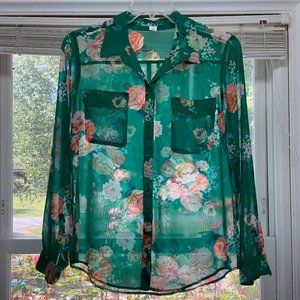Old Navy Long Sleeve Green Floral Blouse Size Lg